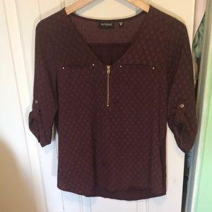 Long sleeve burgundy dress shirt